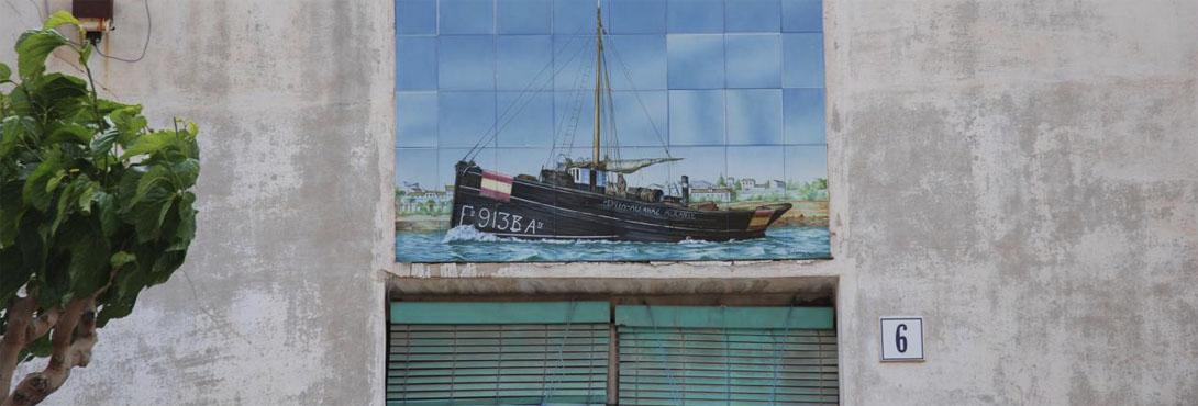 Detalle de Decoración en azulejos de casa en el Centro Urbano